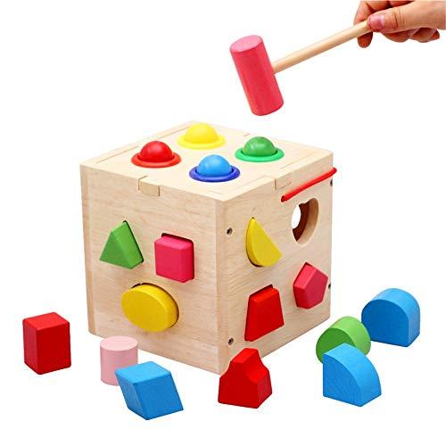 Jeu Cerveau for Tout-Petits garçons Filles 2 Ans et Plus Seventeen Trou Knocking Forme de Boule Couplées avec Les Jouets d'éducation des Jeunes Enfants Early Education Learning Toy