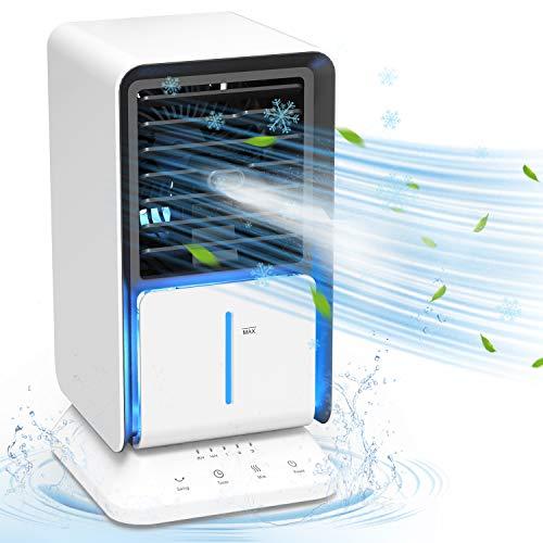 DOUHE Aire Acondicionado Portátil, Mini Enfriador de Aire, 4 en 1, Humidificador,Purificador, Ventilador Silencioso, 3 Velocidade, 90 ° oscilación, Perfecto para Trabajo y Hogar