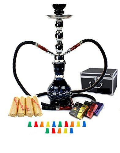 Zebra Smoke Starter Series: 18' 2 Hose Hookah Combo Kit Set w/Instant Charcoal (Like Three Kings Charcoal), Hydro Herbal Molasses(Like Blue Mist), Hookah Mouth Tips (Black)