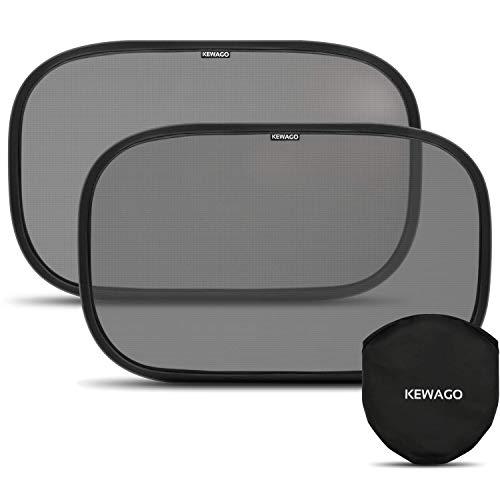 Sonnenschutz fürs Auto mit geprüftem UV Schutz 55+ von Kewago - 2 Stück selbsthaftende Auto Sonnenblenden. Schützt Baby und Kinder vor Sonne und spendet Schatten