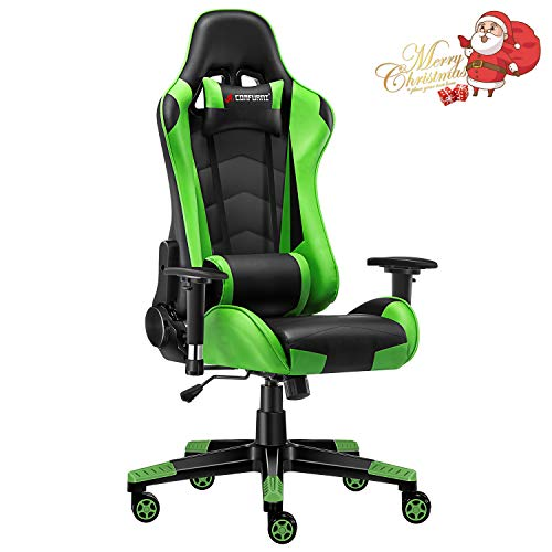 JL Comfurni Gaming Chair Racing Style Ergonomic Swivel Computer Office Desk Chairs Adjustable Height Reclining High-Back with Lumbar Cushion Headrest Executive Leather Task Chair Green big chair gaming tall