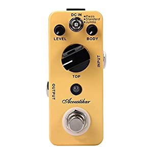 Akustikgitarren-Effektpedal mit True Bypass 3 Effektmodi Piezo, Standard, Jumbo für Akustikgitarre