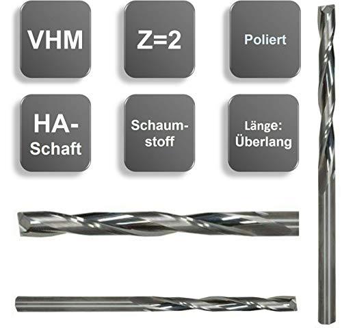 VHM Fräser, extralang, Z=2, poliert, Ø 4x45 / 5x55 / 6x55 mm, für Schaumstoff, Größe: 6,0 x 55 x 108 - d2=6 mm