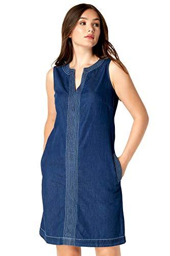 Roman Originals Vestido de mezclilla para mujer con bolsillos – túnica Jean Shift algodón contraste Top...