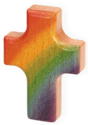 Handschmeichler Regenbogen Kreuz Holz Buche 6,2 cm
