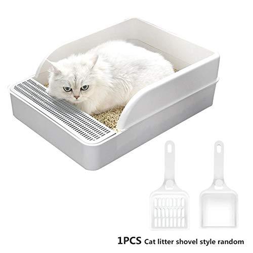 LGFSG Toilette per Gatti Toilette per Gatti con Deodorante semichiuso per Gatti Contenitore per Gatti con Pala per Cani di Piccola Taglia, Bianco, S