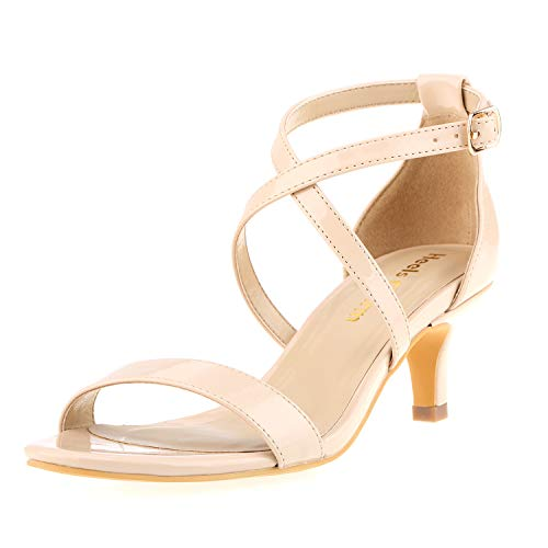 Heels Charm Women's Stiletto Open Toe Cross Strappy Heeled Sandals Ankle Strap High Heels 1.97 Inches Dress Party Wedding Work Daily Shoes Nude Patent Leather Size 7