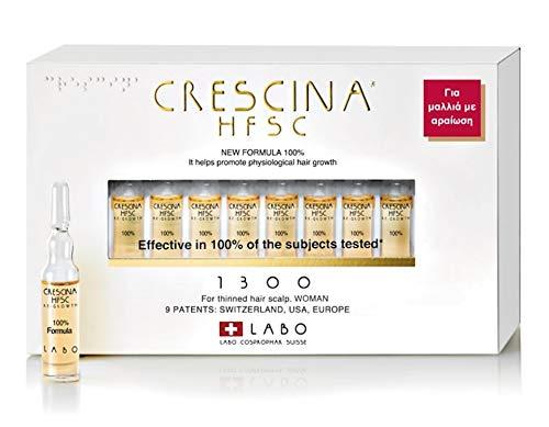 Crescina HFSC - Tratamiento para el crecimiento del cabello y el cuero cabelludo, para mujer, 20 ampollas