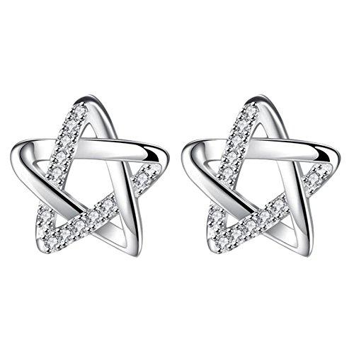 WeiMay Pendientes de circonita perforados con estrella de cinco puntas, temperamento personal para mujer, joyería galvanizada