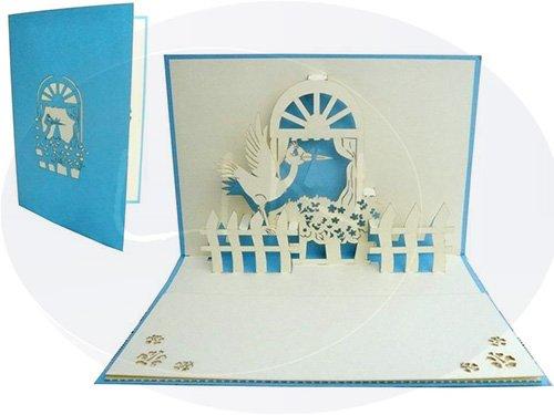 Lin de Pop up 3D Cartes de vœux Cartes de vœux Cigogne Cartes Naissance Garçon