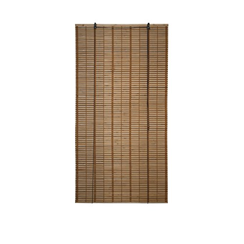 ALEKO BBL36X64BR Light Brown Bamboo Roman Wooden Roll Up Blinds Light Filtering Shades Privacy Drape 36 X 64 Inches