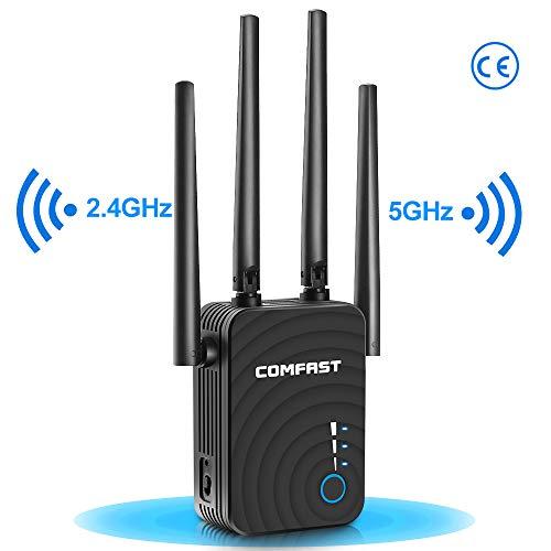 Repetidor WiFi 1200Mbps Amplificador de wifi Extensor de Red Enrutador Inalámbrico(Modo Enrutador/Repetidor/Ap) 2.4 GHz y 5 GHz, Cuatro Antenas, WPS, Puerto Ethernet, Puerto LAN WPS