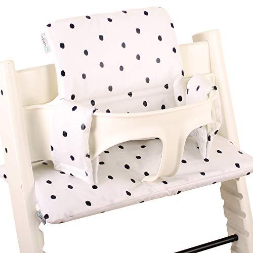 Ukje - Cojin Para Tronas de Bebe Stokke Tripp Trapp 2 Piezas Funda Silla OEKO TEX Standard 100 Funda Cojin Revestimiento Plastico Práctico Fácil de Limpiar Animales blancos