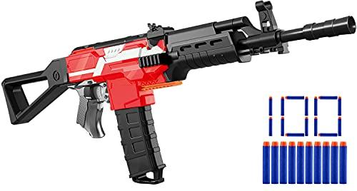Elektrische Spielzeug Pistole für Nerf Gun Pfeilen, motorisierter Blaster mit Magazin, 100 Darts, 3 Feuermodus USB aufladbare Spielzeuggewehr groß, automatische Kinder Waffe, Geschenk ab 6 Jahre Junge