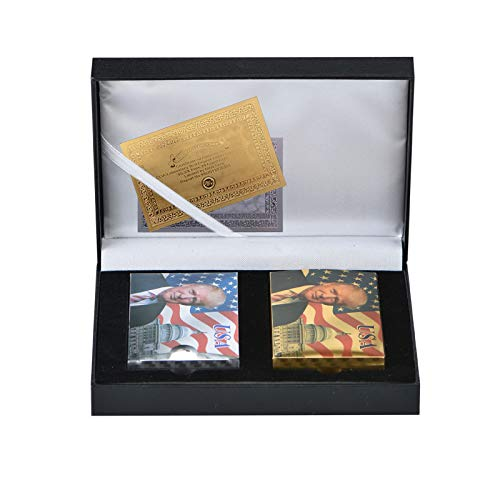 Donald Trump Playing Cards - Gold Plated Playing Cards Gold Plated Deck of Waterproof Poker Cards for Game for Table Games Good Gift for Friends, Men, Boyfriends (Gold&Silver w/Box)