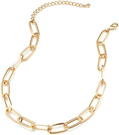 Chunky Chain Link Necklace for Women Lane Woods 14K Gold Plated Paperclip Link Choker product image