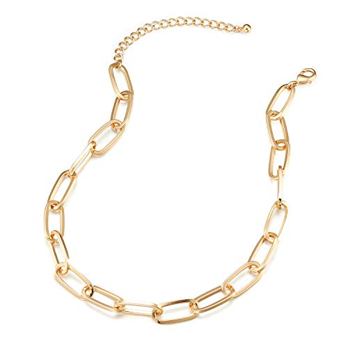 Chunky Chain Link Necklace for Women - Lane Woods 14K Gold Plated Paperclip Link Choker
