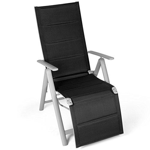 Vanage gepolsterter Gartenstuhl mit Fußableger in schwarz - Klappstuhl - Hochlehner - Stuhl für Garten, Terrasse und Balkon geeignet