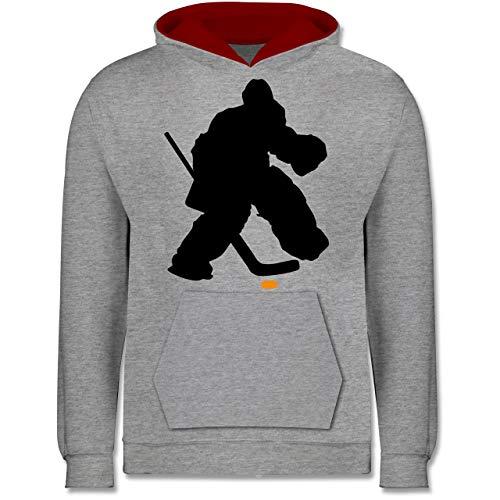 Sport Kind - Eishockeytorwart Towart Eishockey - 128 (7/8 Jahre) - Grau meliert/Rot - Torwart - JH003K - Kinder Kontrast Hoodie