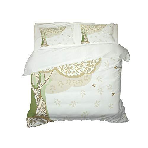 Kekeyt Duvet Cover Sets Fresh Patterned Trees Grey Double Bedding Single Duvet Cover Set 3D Hd Printing 135 X 200 Cm-Cotton adult children's bedding, double bed duvet cover set