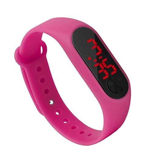 rongweiwang Pantalla LED de visualización niños Thin Reloj de Pulsera Digital de Pantalla muñequera del Estudiante Suministros Reloj Pulsera de Fitness Niño Niña Deportes
