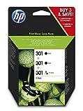 HP 301 E5Y87EE, Pack de 3, Cartuchos de Tinta Originales, 2 Negro + 1 Tricolor, Compatible con impresoras de inyeccin de tinta DeskJet 1050, 2540,3050;OfficeJet 2620, 4630;ENVY 4500, 5530