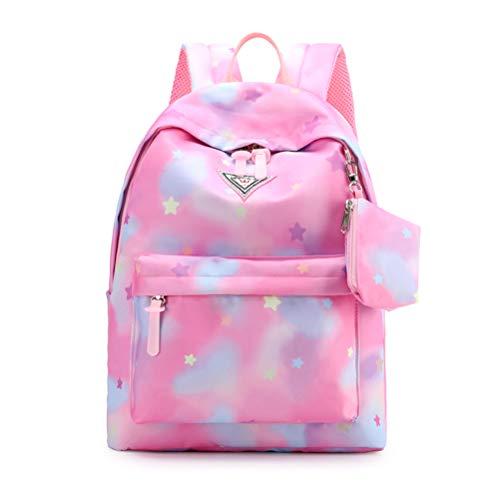 Atrumly Rainbow Backpack Double Zipper Gradient School Backpacks for Teenage Girls Schoolbag