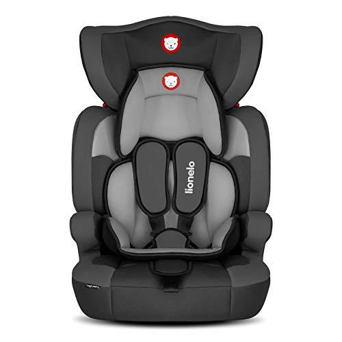Lionelo Levi One Kindersitz 9-36kg Kindersitz Auto höhenverstellbare vertiefte Kopfstütze Seitenschutz abnehmbare Rückenlehne Sitzverkleinerer 5-Punkt-Gurte (Schwarz)