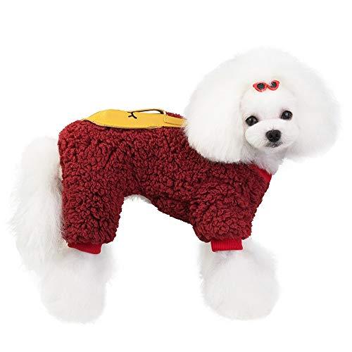 Eyxia- Pet Master Escudo de Cuatro Patas de Perro de Lana con el Conejo de Bolsillo en la Espalda for Oso de Peluche/del caniche/Mini Dachshund/Maltipoo/Boston Terrier de Cachorro/Yorkie