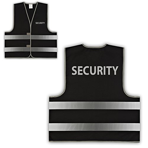 easyMesh® Signalweste Warnweste Schwarz Security versch. Größen (M/L (Umfang 120 cm))