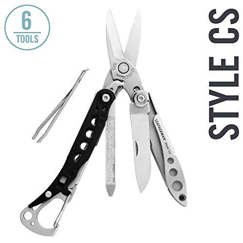 LEATHERMAN, Style CS Keychain Multitool with Spring-Action Scissors and Grooming Tools, Stainless Steel