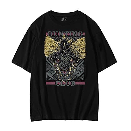 LGXXX T-Shirt Monster Hunter World, Manches Courtes imprimé Game MHW 3D, Manches Courtes col Rond en Coton, Convient aux Fans de Jeux et aux Adolescents Unisexes (L,F)