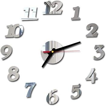 XLGX 3D DIY Römische Zahlen Acryl Spiegel Wandaufkleber Uhr Wohnkultur Wandtattoo einfache außer Schlafzimmer (Silber)