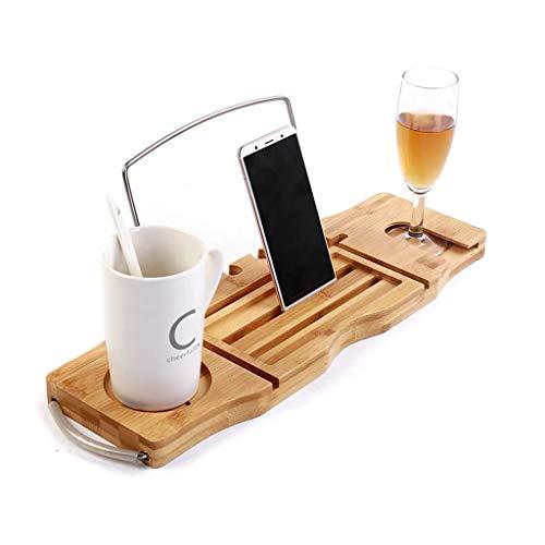 Gxfeng Support de bac de baignoire extensible Multi-fonction support de pont de baignoire en bambou avec support de verre à vin et rangement pour tablette pour téléphone portable, antidérapant,(45-85