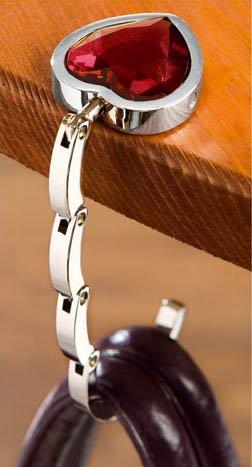 Handbag Butler, Taschenhalter, Handtaschenhalter, Taschenaufhänger, Bag butler, Rubinherz, Herz + Samtsäckchen