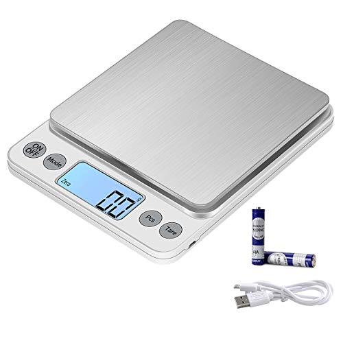 KUBEI Upgraded Larger Size Digital Food Scale for Gram, 5kg/0.1g Kitchen Scale for Cooking Baking, High Precision Electronic Scale for LCD Display