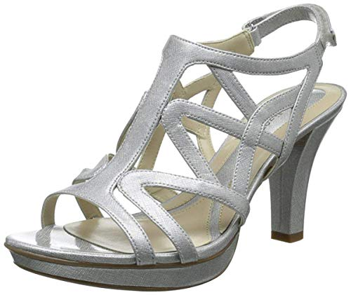Naturalizer womens Danya heeled sandals, Silver Crosshatch, 9 US
