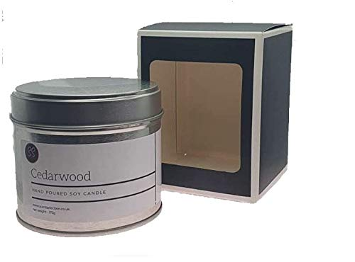 Cedarwood Essential Oil Quality Strong Scented Luxury Soy Wax Candle In A Silver Tin. Made From Natural Wax And Essential Oils