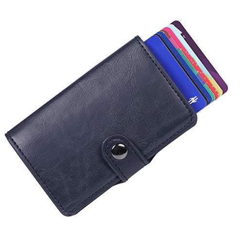 BOJLY Soporte de Tarjeta de crédito, Billetera de Tarjeta con Clip de Dinero Anti-RFID y NFC, 2 Estuches antirrobo de Cuero Crazy Horse y Aluminio, Protector de la Tarjeta Support 8 Tarjetas