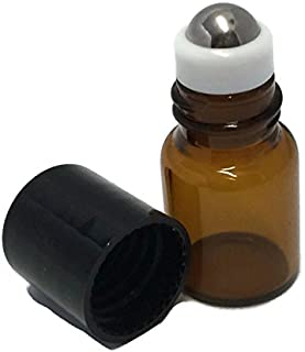 USA 144 Amber Glass 2 ml, 5/8 Dram Mini Roll-On Glass Bottles with Stainless Steel Roller Balls - Refillable Aromatherapy Essential Oil Roll On (144)
