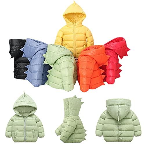 YTZL Chaqueta de plumón para niños, chaqueta acolchada ligera de invierno con capucha, abrigo de invierno para niños, abrigo de invierno cálido y resistente al viento, amarillo, 90 cm