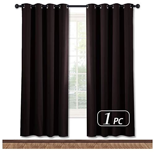 NICETOWN Bedroom Blackout Curtain and Drape - Energy Smart Thermal Insulated Solid Grommet Blackout Drapery for Living Room (1 Panel, 52-inch x 72-inch, Toffee Brown)