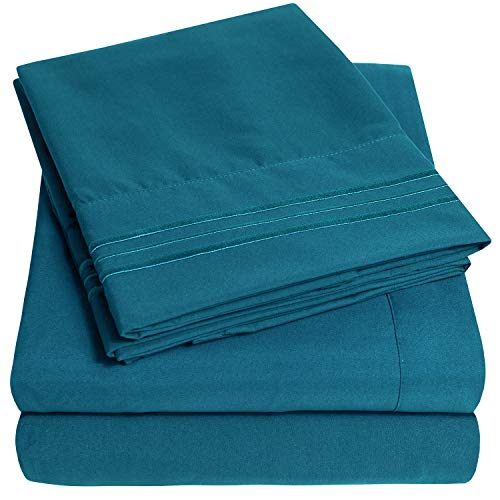 1500 Supreme Collection Extra Soft Full Sheets Set, Teal - Luxury Bed Sheets Set with Deep Pocket Wrinkle Free Hypoallergenic Bedding, Over 40 Colors, Full Size, Teal