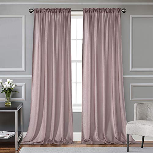 Kawcono Rose Pink Semi Sheer Curtains 63 Inches Long, Silky Soft Window Rod Pocket Draperies for Living Room, 2 Panels 52' W x 63' L