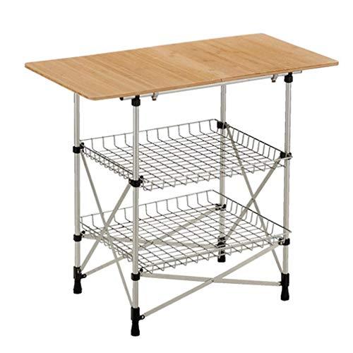 Outdoor klaptafel, 3 verdiepingen keuken opbergtafel houten plaat + roestvrij stalen trapezium keukengerei kruidenrek 3 stuks