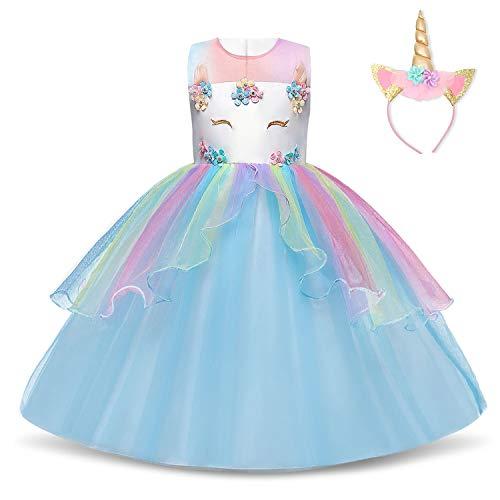NNJXD Filles Licorne Party Costume Fleur Cosplay Mariage Halloween Fantaisie Princesse Robe + Chapeaux Taille (140) 6-7 Ans Bleu