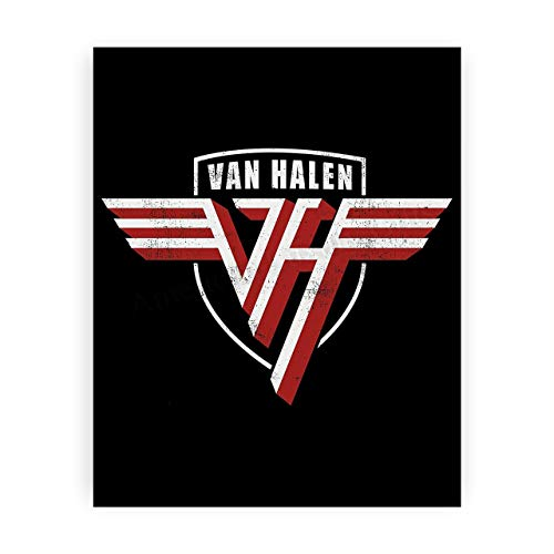 Van Halen Band-Logo Poster Print- 8 x 10 Wall Print-Ready To Frame. Iconic Rock Band Distressed Logo Print. Home-Office-Studio-Bar-Dorm-Man Cave Decor. Great Gift For All Rock Music & Van Halen Fans.