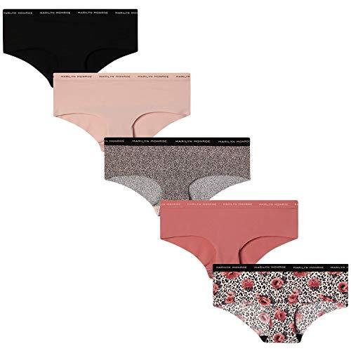 Marilyn Monroe Women's Underwear - Hipster Panties with Logo Waistband (5 Pack), Size X-Large, Rose Animal/Sahara Rose/Quartz Animal/Balmy Pink/Black