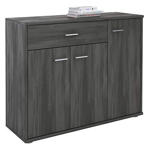 CARO-Möbel Kommode Estelle Sideboard Mehrzweckschrank, Esche grau mit 3 Türen und 1 Schublade, 88 cm breit