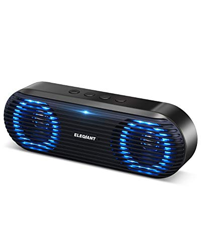 Bluetooth Lautsprecher, ELEGIANT Tragbarer Bluetooth 5.0 Lautsprecher Wireless Soundbox 10W Musikbox Boombox mit Stereo Sound Stark Bass unterstützt Freisprechen TF-Karte USB-Stick für Indoor Outdoor